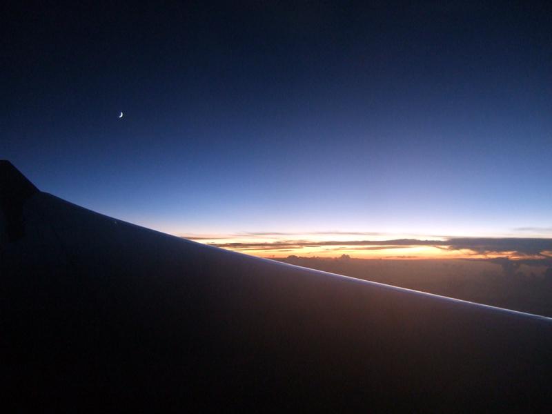 機内から見た日本の夕焼け