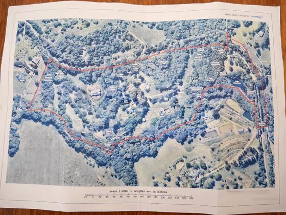 敷地の航空写真(赤線内)