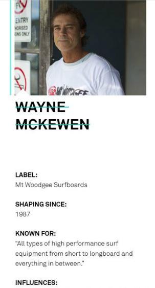 Mt Woodgee Shaper WAYNE MCKEWEN
