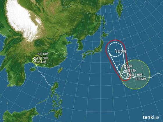 台風 2015年10月05日06:00現在
